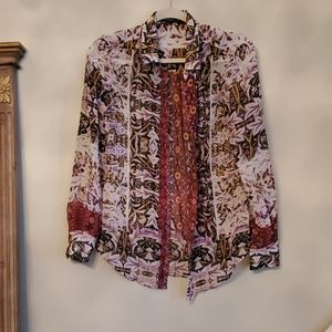 Ivanka Trump Button Up Sheer Blouse Size S